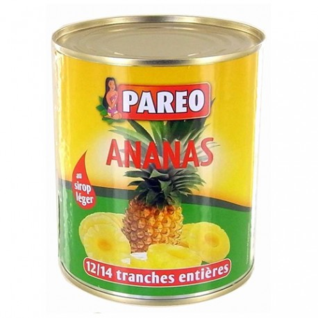 Tranches d'ananas au sirop Pareo conserve