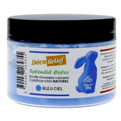 Colorant naturel liposoluble bleu ciel Déco Relief en pot de 50 gr