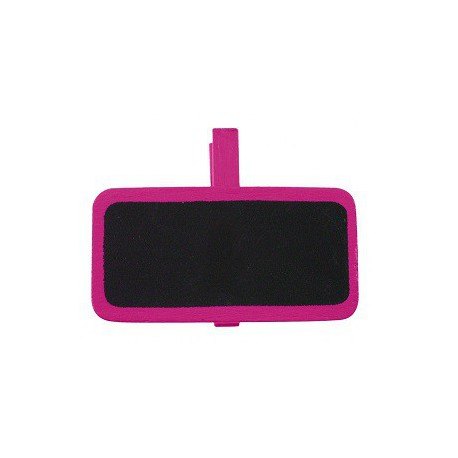 6 Ardoises sur pince rectangle fuchsia 2x4 cm
