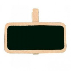6 Ardoises sur pince rectangle ivoire 2x4 cm